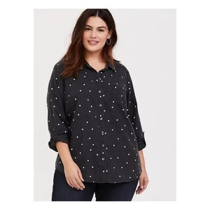 Torrid Charcoal Polka Dot Button Up